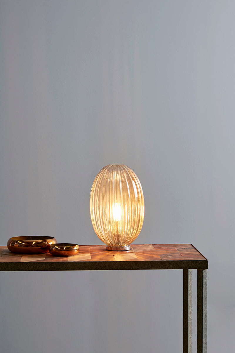 Costolette Small Table - Champagne - Small Ribbed Glass Pod Table Lamp