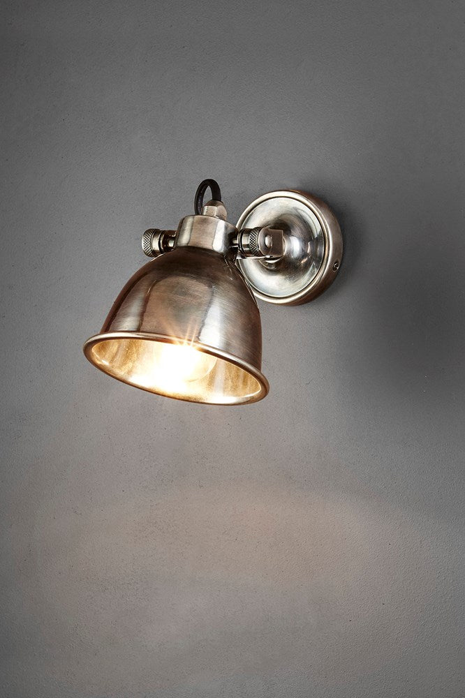 Phoenix Wall - Antique Silver - Solid Metal Wall Light with Pivoting Shade