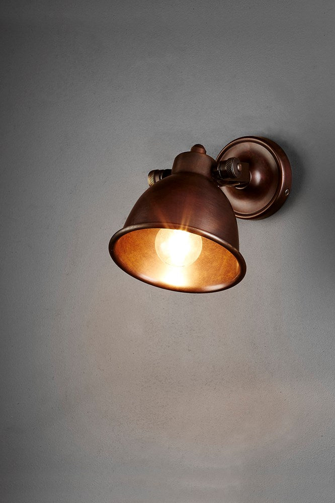 Phoenix Wall - Dark Brass - Solid Metal Wall Light with Pivoting Shade