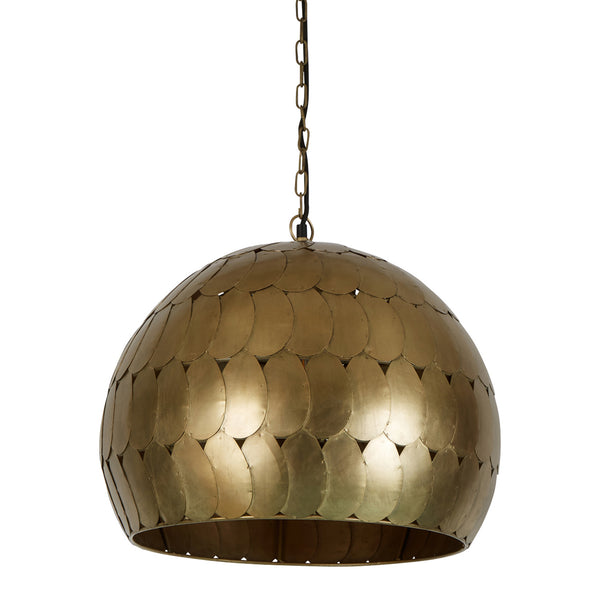 Pangolin Small - Antique Brass - Iron Scales Dome Pendant Light