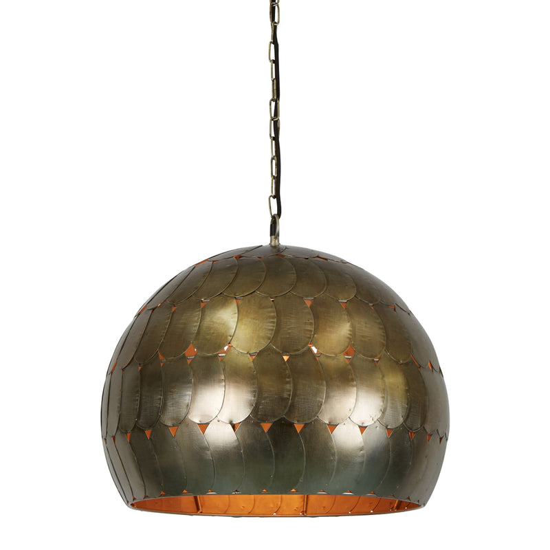 Pangolin Small - Pewter - Iron Scales Dome Pendant Light