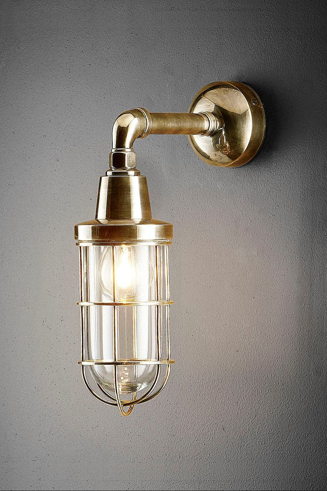 Starboard - Antique Brass and Clear Glass - Solid Metal Caged Wall Light with Clear Glass Bulb Cover