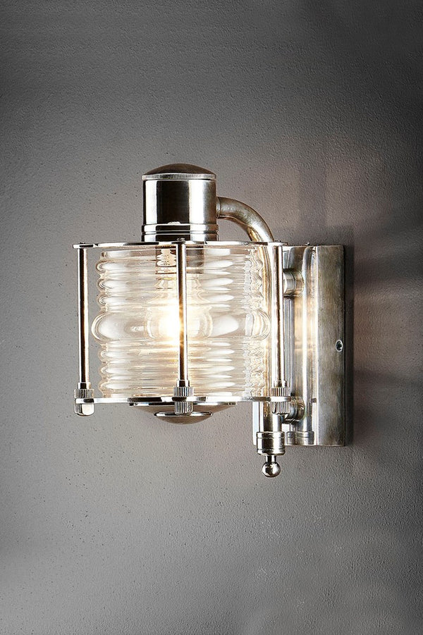 Yarra Wall - Antique Silver and Clear Glass - Solid Metal Single Arm Wall Light with Hand Blown Glass