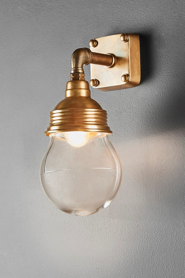 Ampton Wall - Antique Brass and Clear Glass - Aluminium and Metal Short Arm Wall Light with Clear Glass Lamp Cover