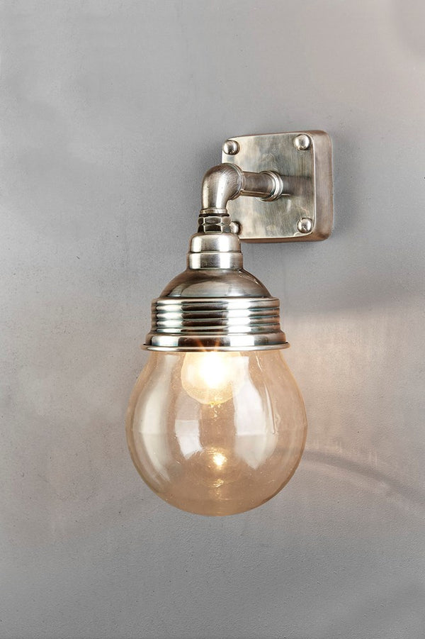 Ampton Wall - Antique Silver and Clear Glass - Aluminium and Metal Short Arm Wall Light with Clear Glass Lamp Cover