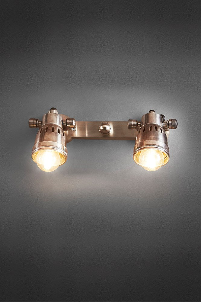 Carter Wall - Antique Silver - Solid Metal Dual Adjustable Wall Mounted Spot Light