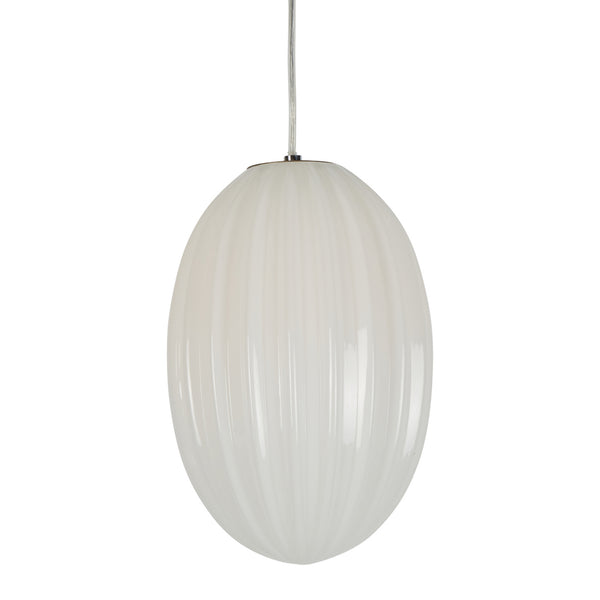 Costolette Small - Opal White - Small Ribbed Glass Pod Pendant Light