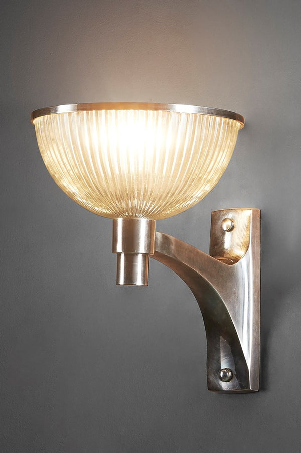 Astor Glass Wall - Antique Silver - Solid Metal Arm Wall Light with Ribbed Glass Bowl Diffuser
