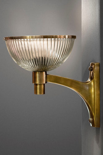 Astor Glass Wall - Antique Brass - Solid Metal Arm Wall Light with Ribbed Glass Bowl Diffuser