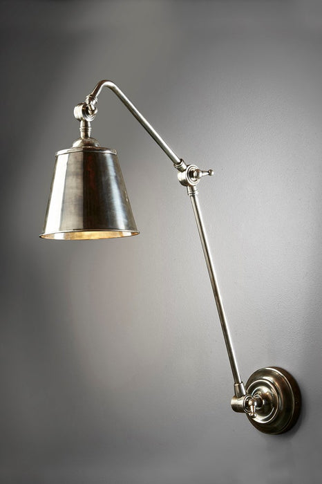 Cromwell Wall - Antique Silver - Solid Metal Extra Long Arm Adjustable Wall Lamp