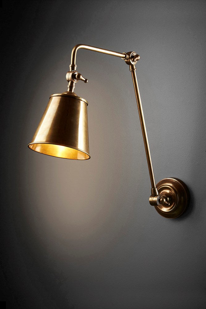 Cromwell Wall - Antique Brass - Solid Metal Extra Long Arm Adjustable Wall Lamp
