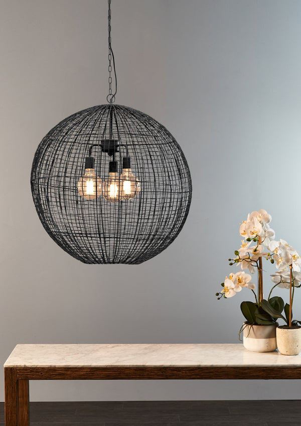 Cray Ball Large - Black - Wire Weave Ball Pendant Light