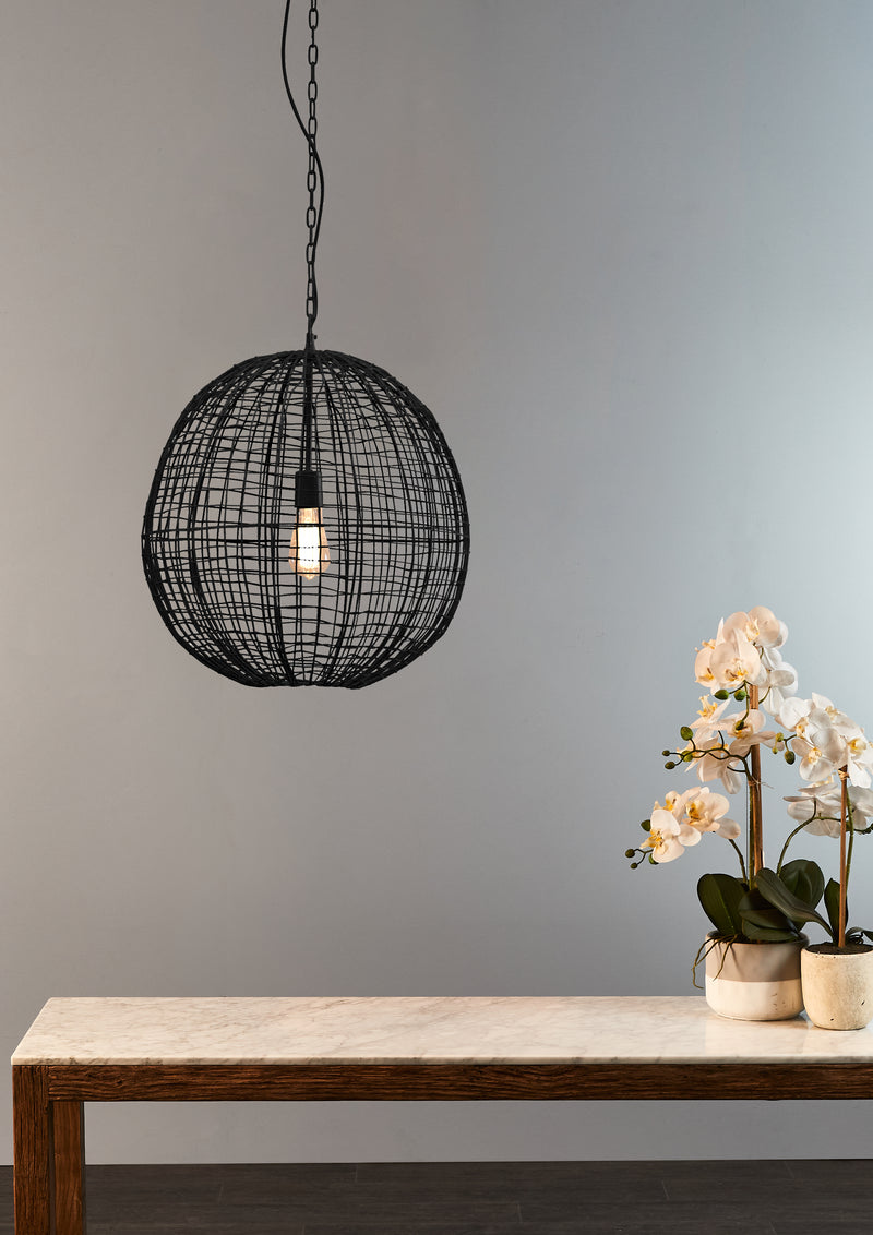 Cray Ball Medium - Black - Wire Weave Ball Pendant Light