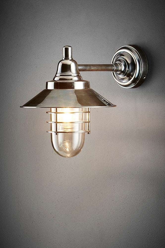 Clark Wall - Antique Silver - Solid Metal Contemporary Outdoor Wall Lantern with Clear Glass Lamp Cover