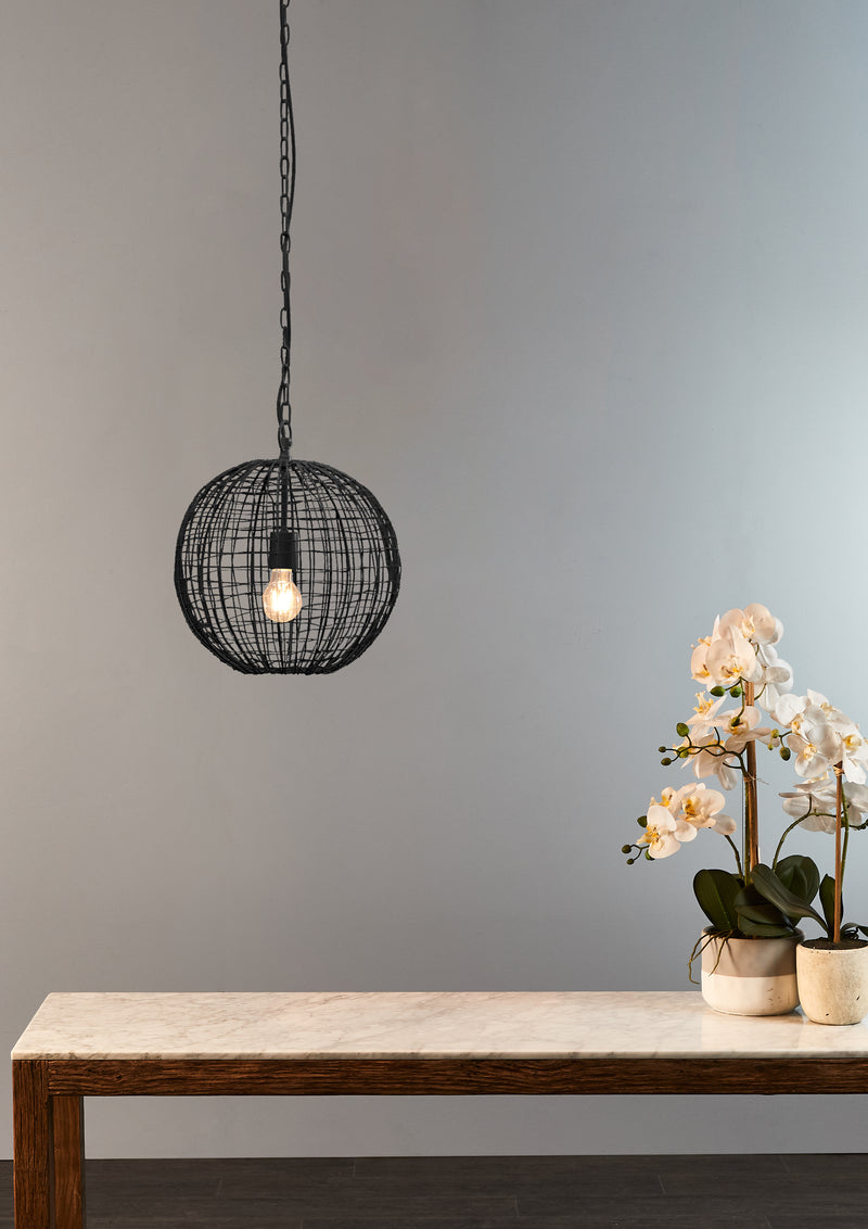 Cray Ball Small - Black - Wire Weave Ball Pendant Light