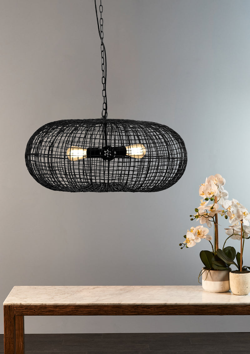Lobster - Black - Wire Weave Ellipse Pendant Light