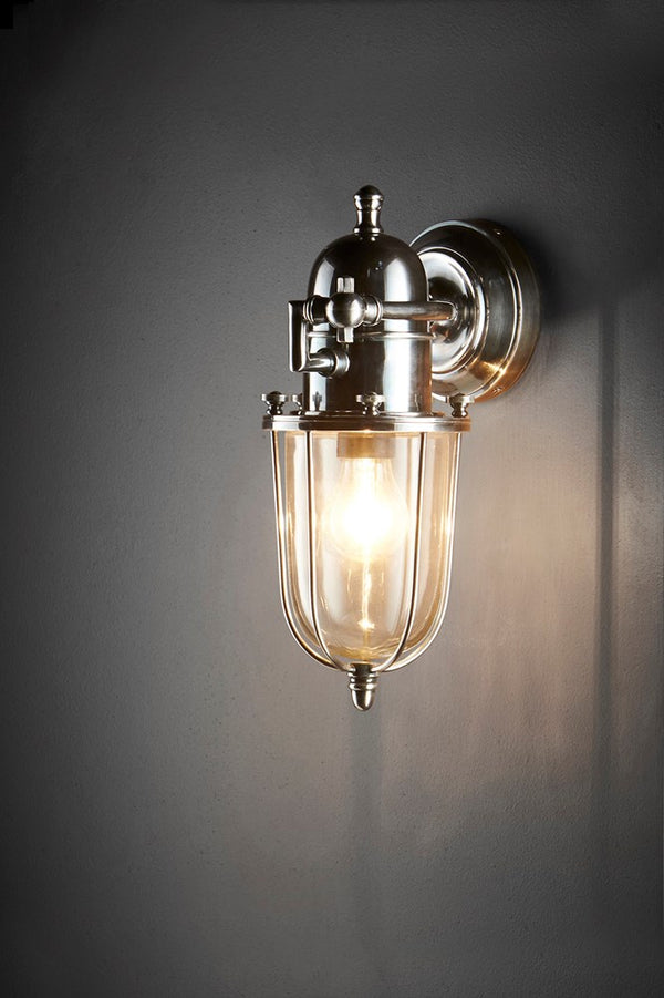 Chapel Wall - Antique Silver - Nickel-Plated Solid Brass Outdoor Wall Lantern with Hand blown Glass Lamp Cover