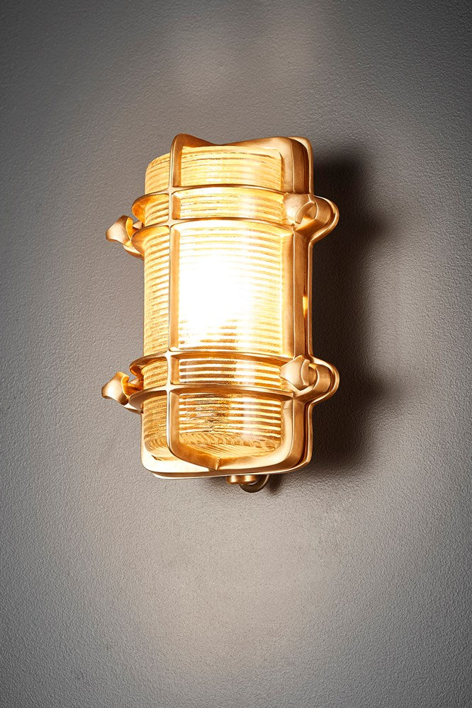 Harley Wall - Antique Brass - Solid Metal Bunker Style Indoor Wall Light with Ribbed Glass