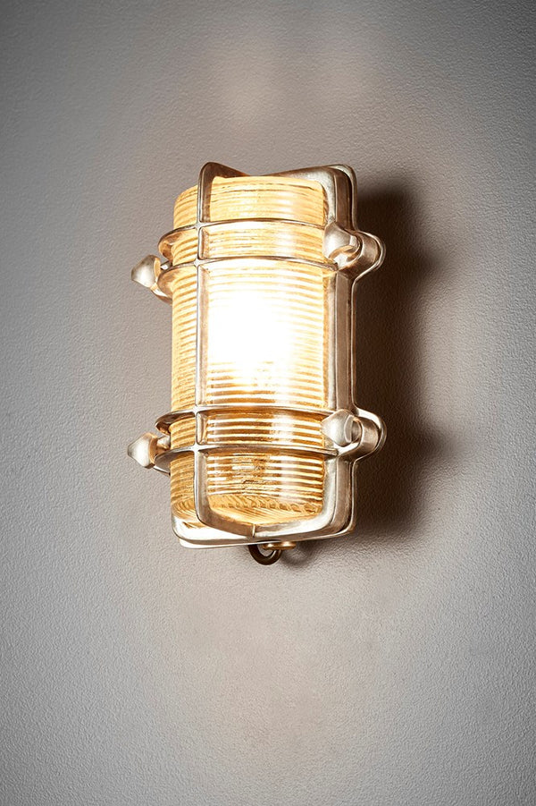 Harley Wall - Antique Silver - Solid Metal Bunker Style Indoor Wall Light with Ribbed Glass