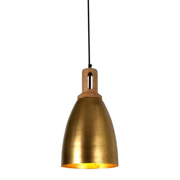 Lewis - Antique Brass - Tall Dome Pendant Light With Wooden Top