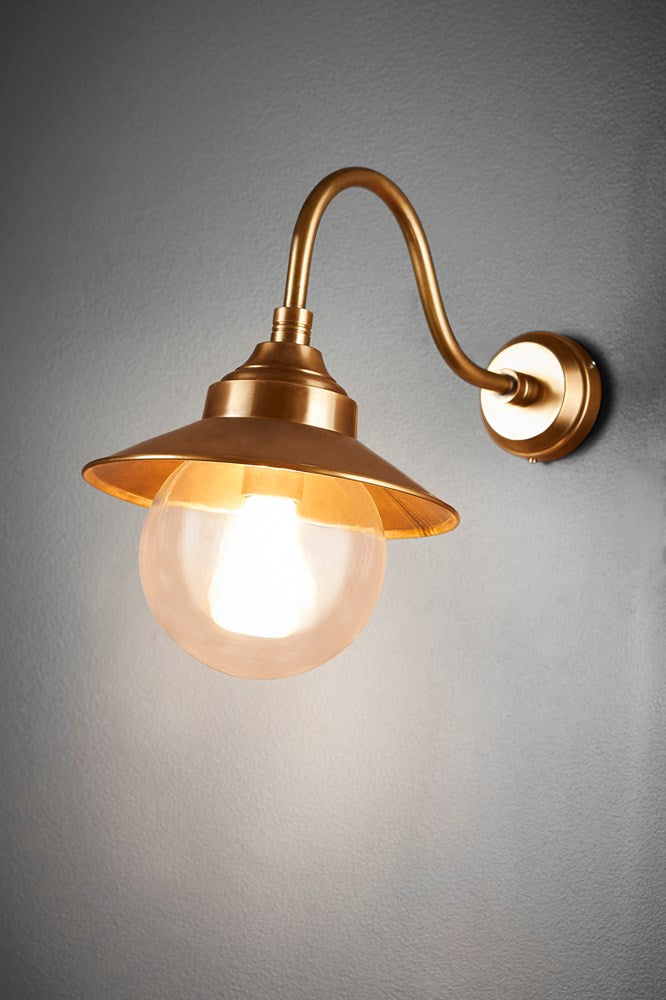 Zermatt Wall - Antique Brass - Solid Brass Wall Lamp with Globular Clear Glass Lamp Cover
