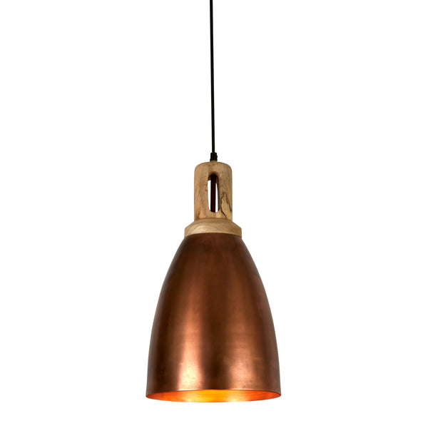 Lewis - Antique Copper - Tall Dome Pendant Light With Wooden Top