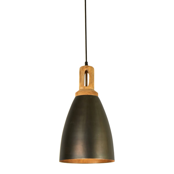 Lewis - Black - Tall Dome Pendant Light With Wooden Top