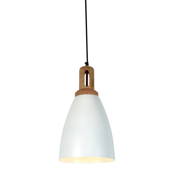 Lewis - Matt White - Tall Dome Pendant Light With Wooden Top
