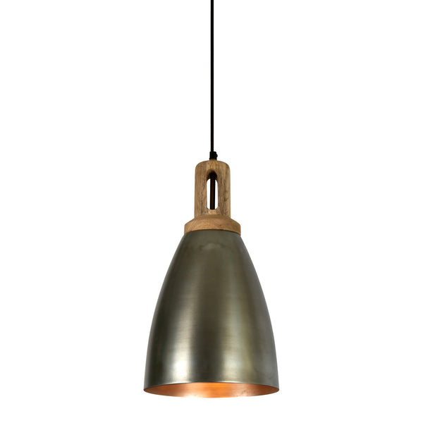 Lewis - Zinc - Tall Dome Pendant Light With Wooden Top