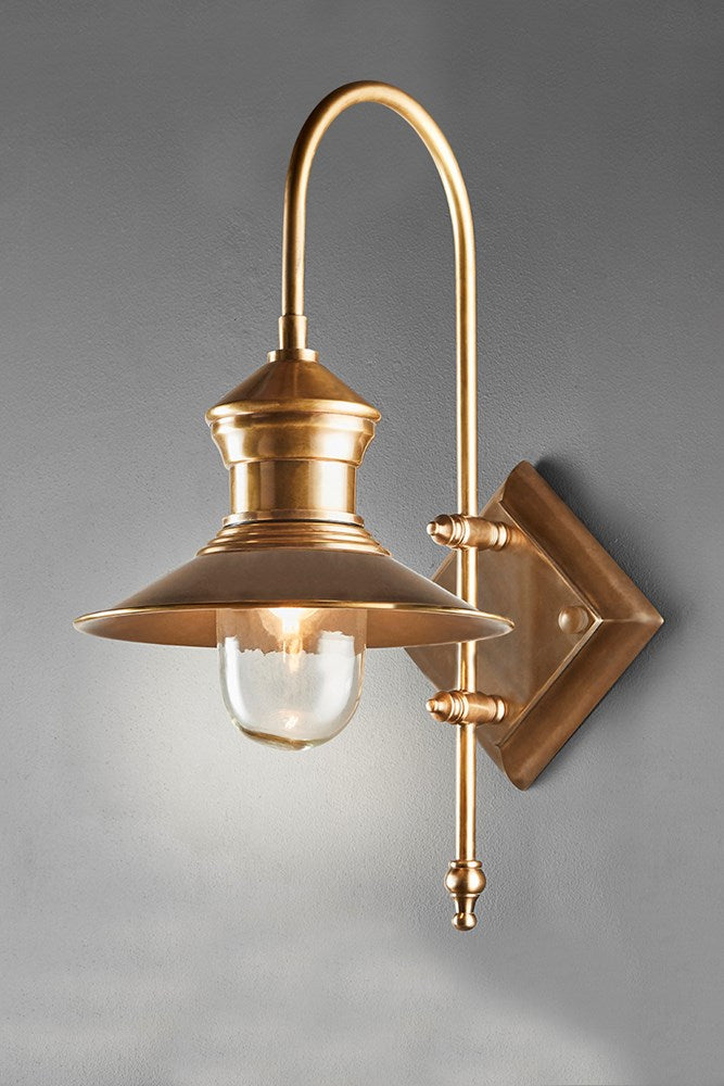 St James - Antique Brass - Solid Brass Curved Arm Outdoor Wall Light