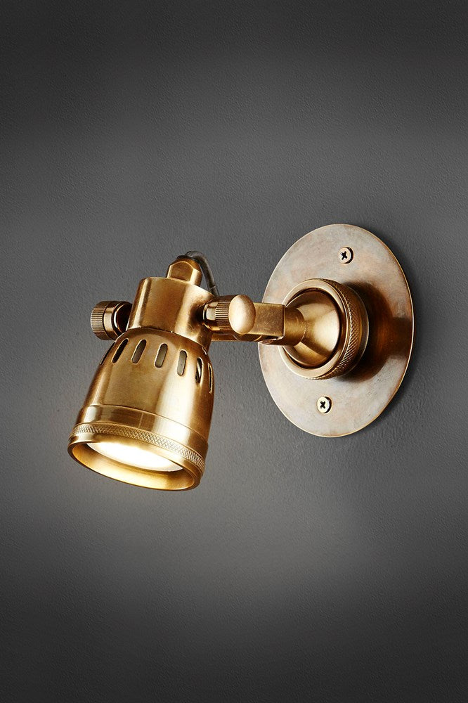 Seattle Short Arm Wall - Antique Brass - Solid Metal Short Arm Adjustable Wall-mounted Spotlight