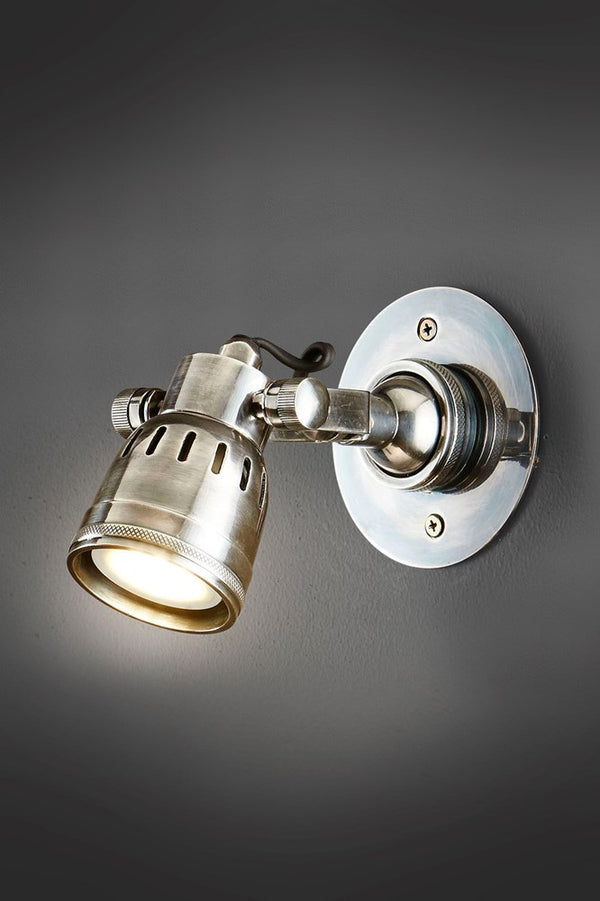 Seattle Short Arm Wall - Antique Silver - Solid Metal Short Arm Adjustable Wall-mounted Spotlight