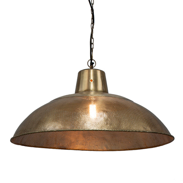 Riva Dish - Antique Brass - Perforated Iron Dish Pendant Light
