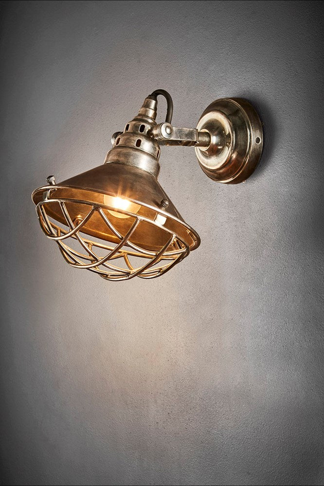 Twain Wall - Antique Silver - Solid Metal Short Arm Adjustable Wall Light with Cage Cover