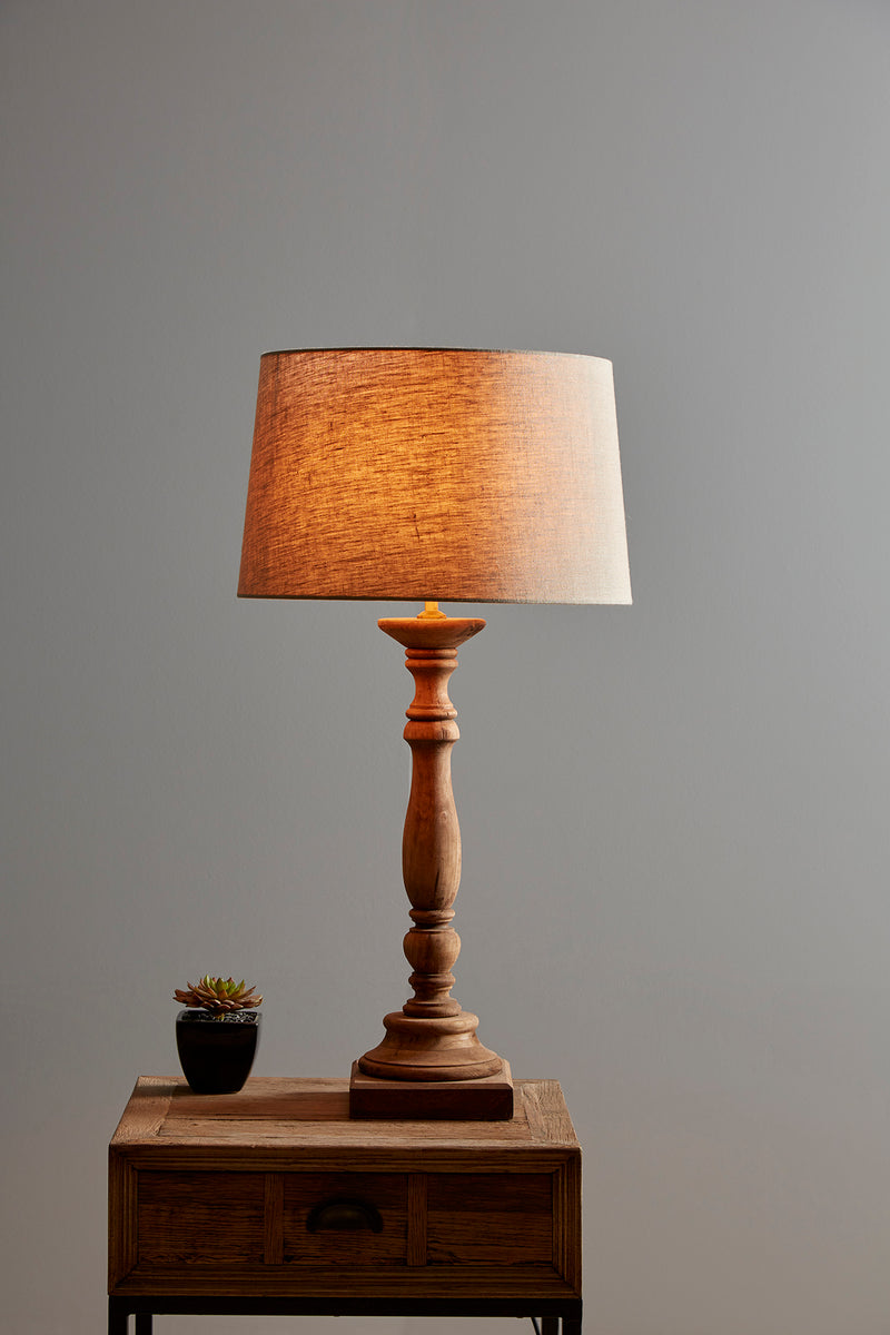 Candela Small - Dark Natural - Turned Wood Candlestick Table Lamp