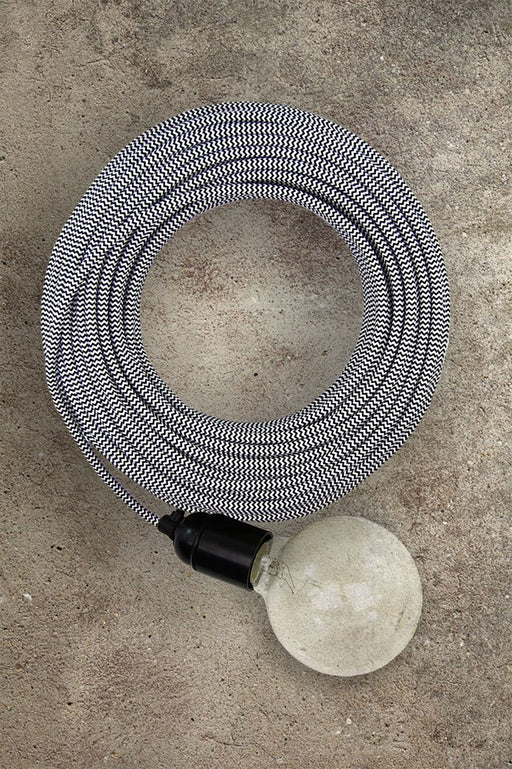 Fabric Electrical Cord - Black/White