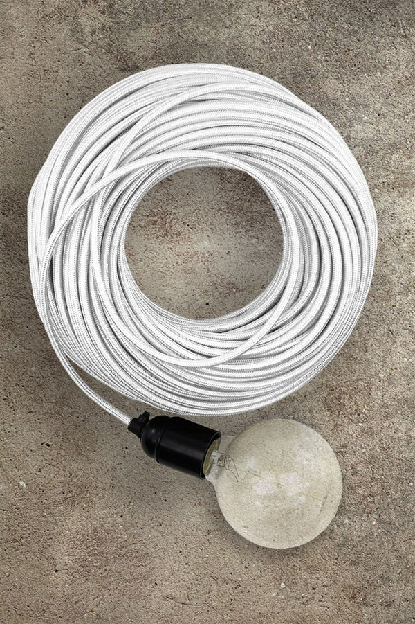 Fabric Electrical Cord - White