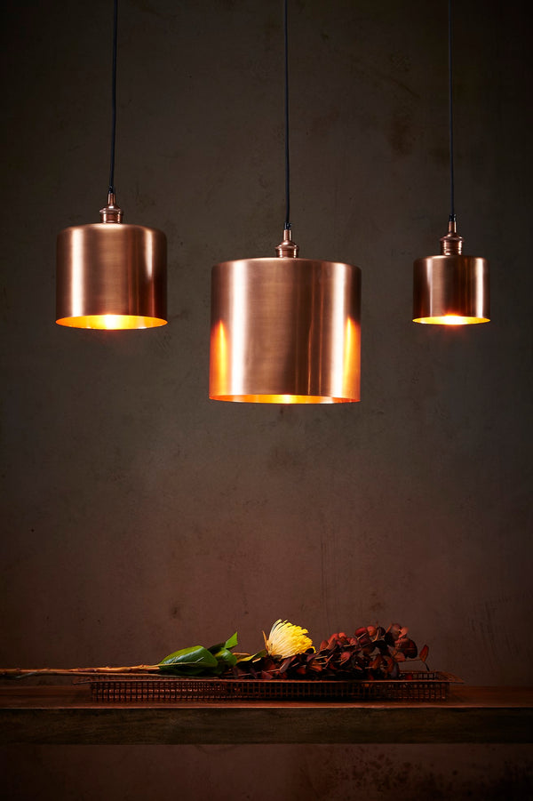Zurich 2 Large - Antique Copper - Drum Pendant Light