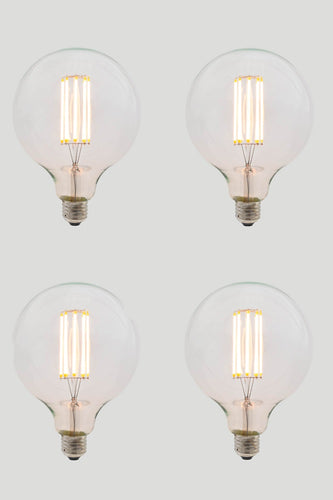 Set of 4 G125 Long LED Filament - Clear Glass - 8W E27 2200k