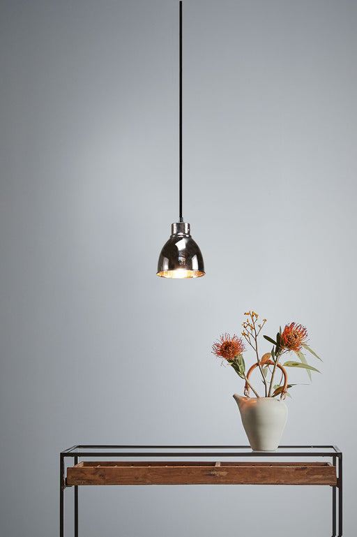 Muri - Nickel - Small Tall Contemporary Dome Pendant Light