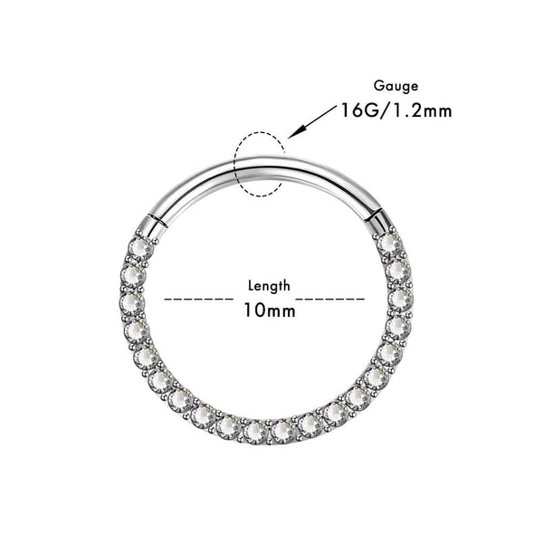 16G Clear CZ Hinged Segment Nose Ring Conch Earring - OUFER BODY JEWELRY