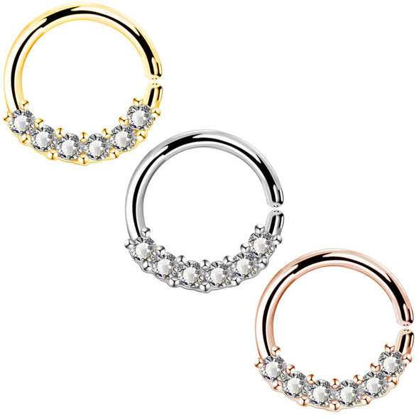 16G Clear CZ Rose Gold Seamless Hoop Septum Ring - OUFER BODY JEWELRY