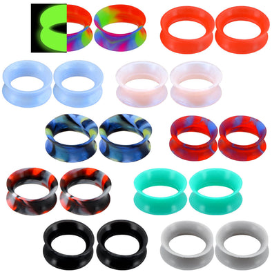 20pcs Thin Silicone Tunnel Plugs Double Flared Ear Gauge Set 4 - OUFER BODY JEWELRY