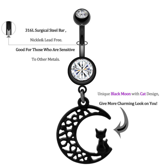 14G Black Stainless Steel Curved Barbell Moon Belly Button Ring - OUFER BODY JEWELRY