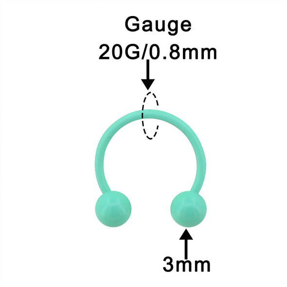 2Pcs 16G Macaron Green Circular Barbell Septum Ring - OUFER BODY JEWELRY