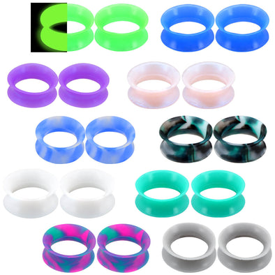 Soft Silicone Plugs Set 20PCS Ear Gauges Flesh Tunnels Double Flared Thin Flexible