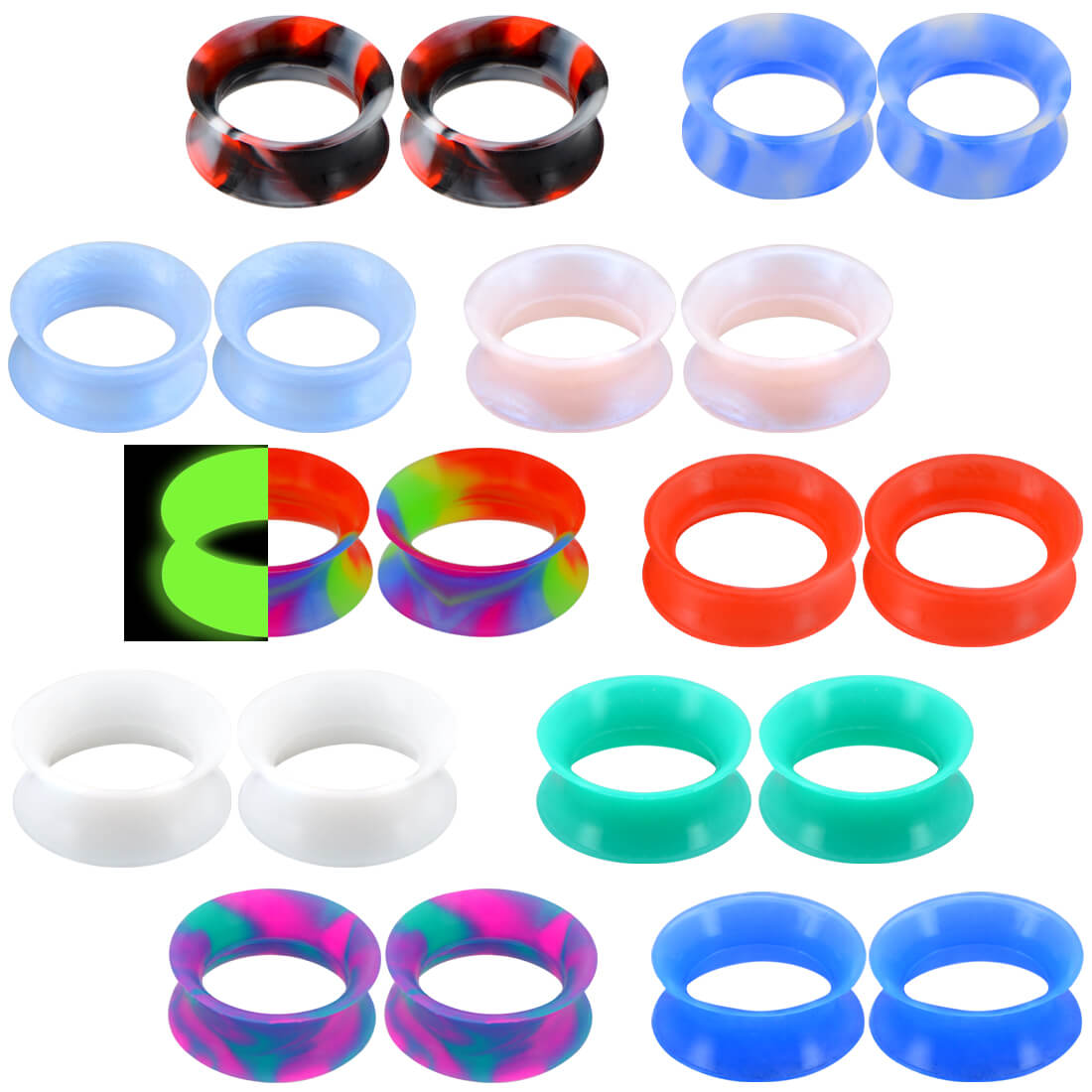 Pair of Silicone Ear Skins Tunnels Gauges Soft and Flexible You Pick Size//Color