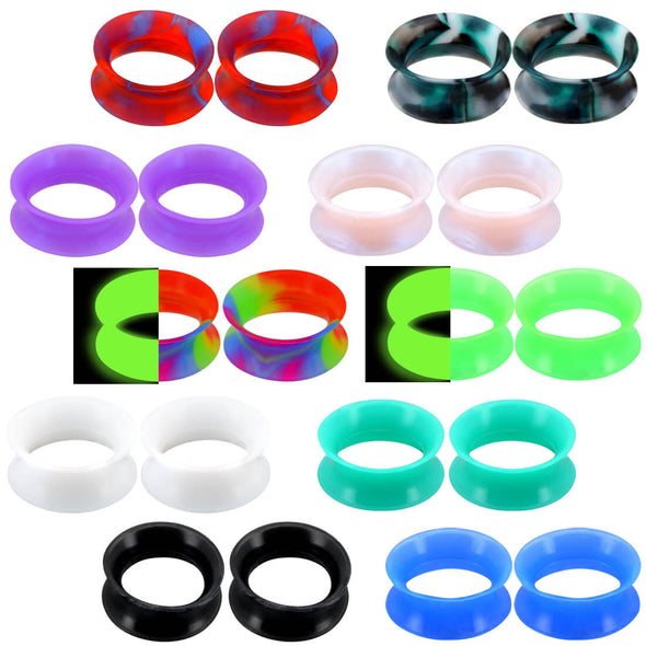 Soft Silicone Ear Plugs and Tunnels Gauge 10 pairs Mixed Color Set 2 - OUFER BODY JEWELRY
