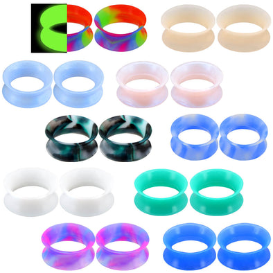 20PCS Soft Silicone Ear Gauges  Mixed Color Set 3
