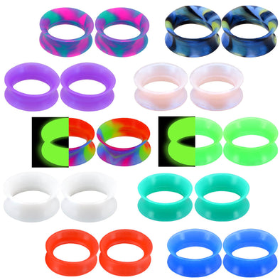 20pcs Silicone Ear Gauges Plugs Marble Pearlized Flesh Tunnels Mixed Color 6g-1""